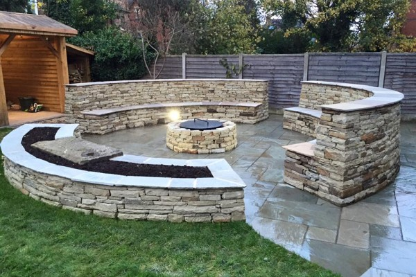 stone outdoor seating area