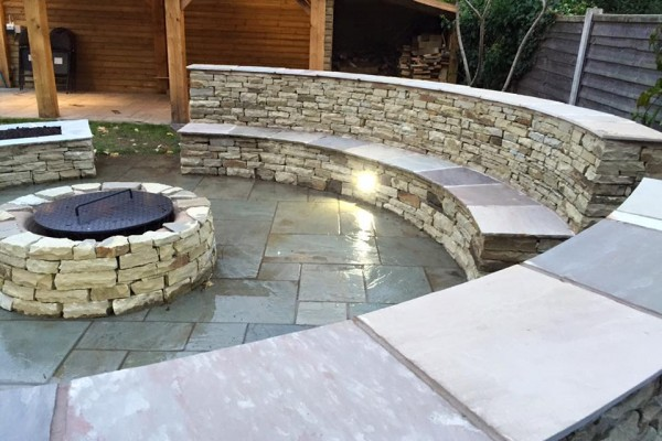 stone tile outdoor seating area